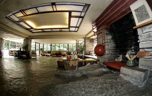 On the other side of the entry, the broad place in Falling Water, Pennsylvania.  Here the Living Room.