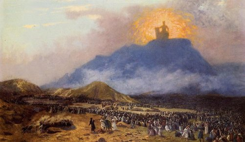 After the Exodus, God appeared before the Israelites on the summit of Mount Sinai. Painting by the nineteenth-century French artist Jean-Léon Gérôme.